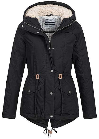 Eight2Nine Damen Winter Parka Kapuze Teddyfutter Kordelzug by Urban Surface schwarz Eight2Nine Women Jacken | 77onlineshop im Online Shop preiswert kaufen