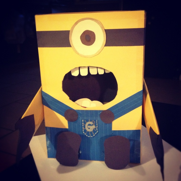 Despicable Me Minion Valentines card box made from cereal box and – Cereal Box Valentine Card Holder