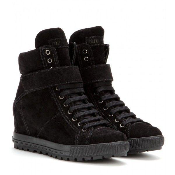Miu Miu Suede Concealed Wedge Sneakers found on Polyvore