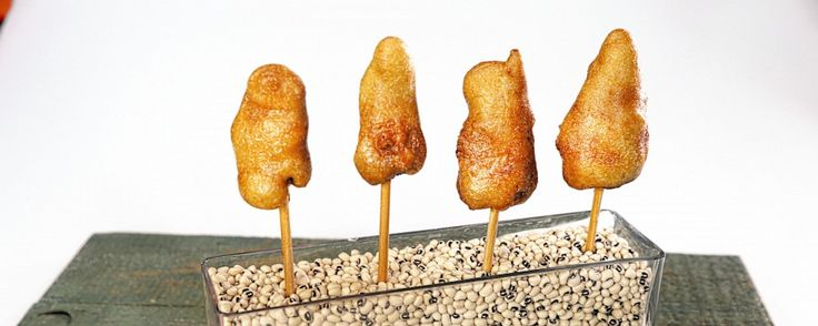 Chicken & Waffles On A Stick! - Make your own chicken tenders or store bought.  Dip into waffle batter and fry.