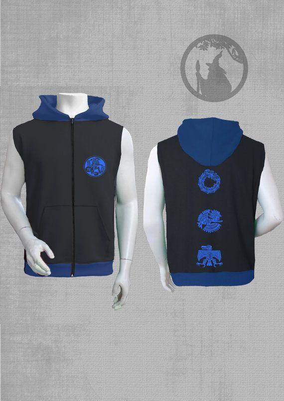 men sleeveless jacket hoodie with AZTEC vinyl print by PSYDRUID