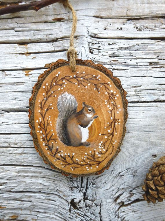 Frosty Squirrel: Rustic Tree Ornament by AliceCEades on Etsy