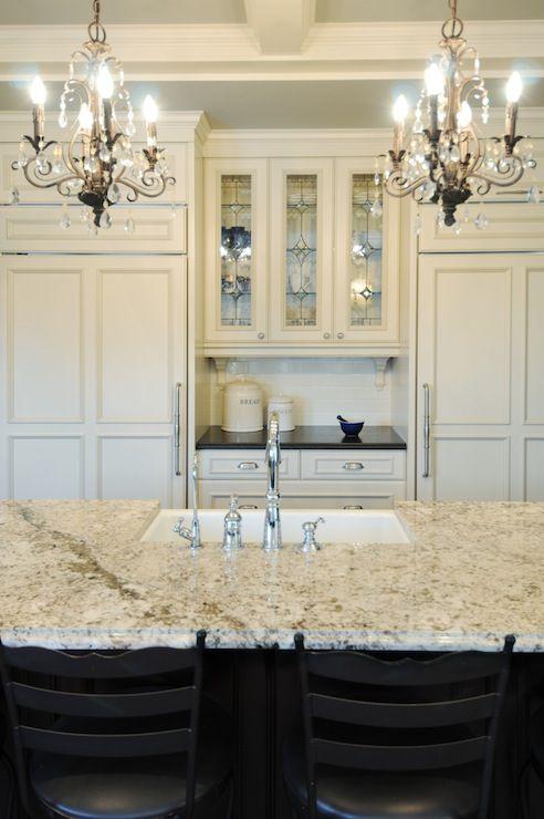 Corea Sotropa Interior Design - home exteriors - granite counters, granite countertops, cream cabinets, cream kitchen cabinets, concealed fr...