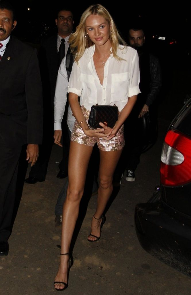 legs for days! love the shoes!: Fashion, Candice Swanepoel, Street Style, Sequins Shorts, White Shirts, Outfit, Classic White, Candiceswanepoel, White Blouses