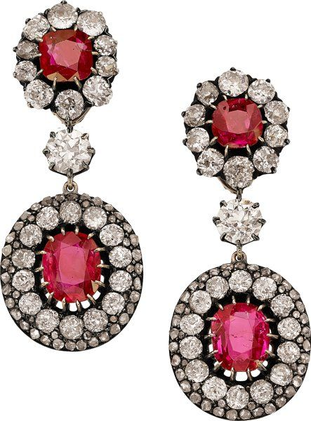 Burma Ruby, Diamond, Silver-Topped Gold Convertible Earrings.
