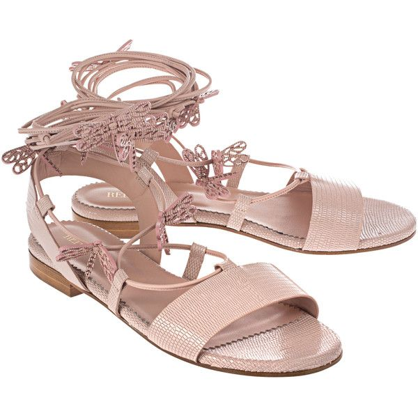 RED VALENTINO Dragonfilies Nude // Leather sandals with dragonflies... (7 795 ZAR) ❤ liked on Polyvore featuring shoes, sandals, lace-up sandals, leather lace up shoes, red valentino shoes, laced shoes and red valentino sandals
