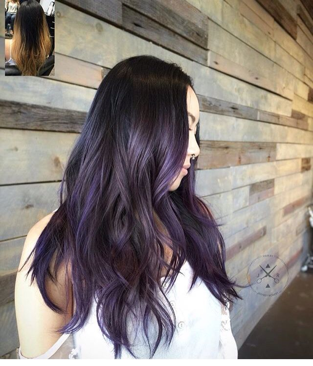 Dark hair with lavender highlights