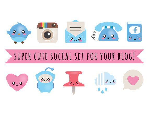 Blog Design Kit - vector bestanden - blog sociale kit - blog knoppen, knoppen voor het web - social media iconen - kawaii - leuke blog designelementen