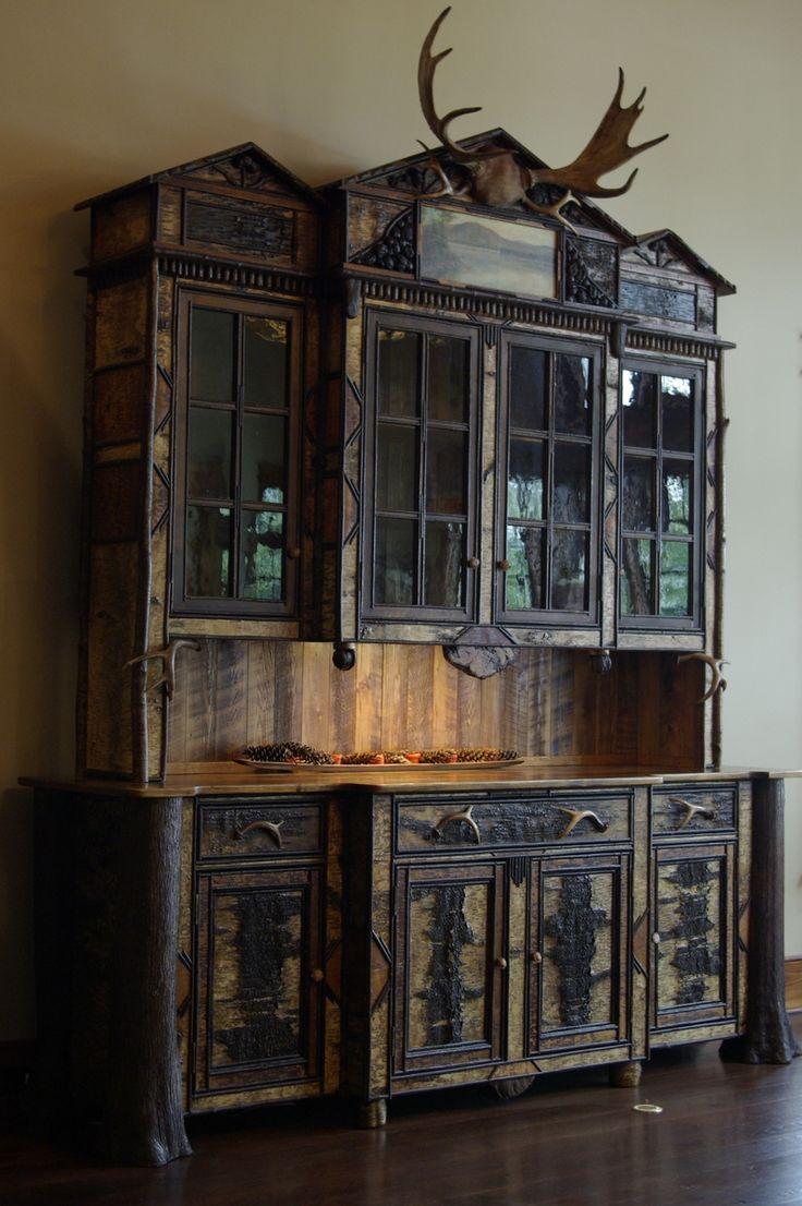 Custom made adirondack rustic buffet hutch cabinet - Adirondack style bedroom furniture ...