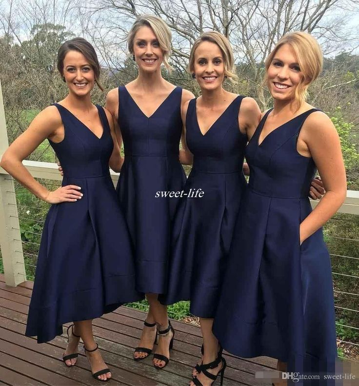 Modest 2017 Navy Country Bridesmaid Dresses V-Neck Sleeveless Short Prom Dresses High Low Back Hi-Lo Custom Made Formal Occasion Party Gowns Bridesmaid Dresses Cheap Short Party Dresses Online with 82.0/Piece on Sweet-life's Store | DHgate.com