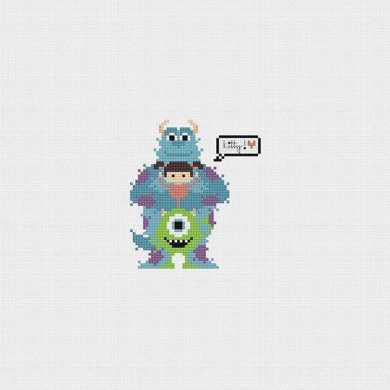 "Monsters Inc ""Kitty"" Cross Stitch Pattern PDF Instant Download and like OMG! get some yourself some pawtastic adorable cat shirts, cat socks, and other cat apparel by tapping the pin!"