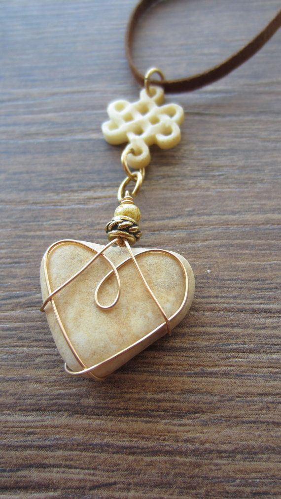 Wire Wrapped Creamy Beige Heart Stone with by heart2heartdesign, $26.00