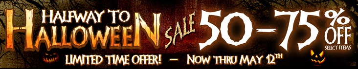 For all of my fellow Halloween fanatics - 50% to 75% off sale - Halfway to Halloween!!!