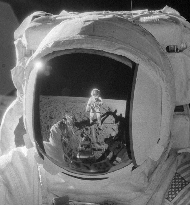 Apollo 12 astronauts Alan Bean and Pete Conrad on the Moon, November 20, 1969. Conrad, taking the photo, is reflected in Bean's visor.   photo courtesy of NASA