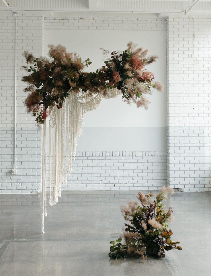 modern macrame textured wild foliage floral backdrop