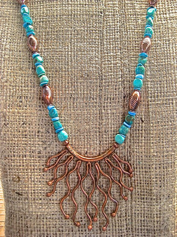 Cyber Sale Copper and Turquoise Necklace Hill by CatchingWaves