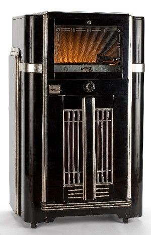 Seeburg Symphonola Juke Box / black lacquer and silvered case, ca. 1940. @designerwallace