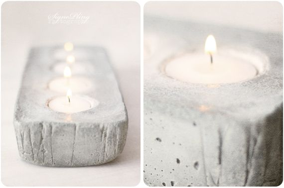 Concrete Candleholder DIY.Concrete Votive, Concrete Projects, Candle Holders, Candles Holders, Teas Lights, Concrete Candles, Diy Concrete, Diy Projects, Concrete Candleholder