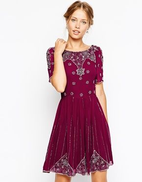 1920s inspired dress : Frock and Frill Embellished Skater Dress - Berry multi