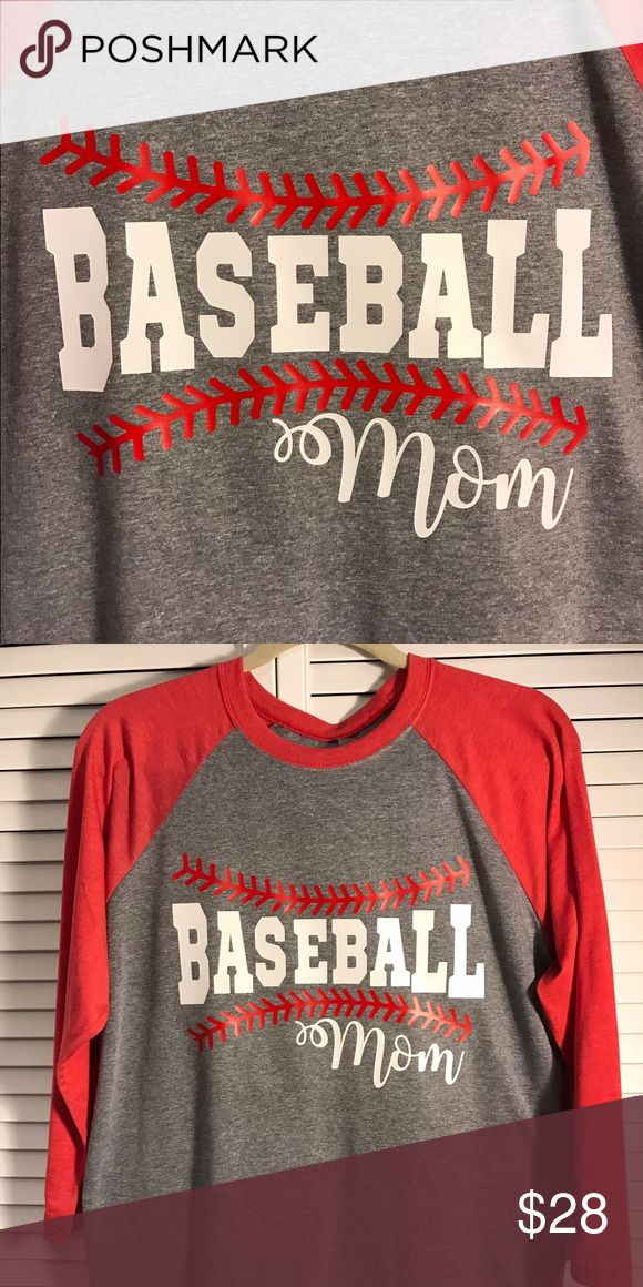 Baseball Mom Raglan T Shirt Next Level 3/4 sleeve unisex baseball style tee, super soft ring spun cotton/poly blend. Custom tee made to order, variety of colors available! Perfect for baseball season to support you favorite player :) add a Name or number on back or sleeves .... Next Level Tops Tees - Long Sleeve