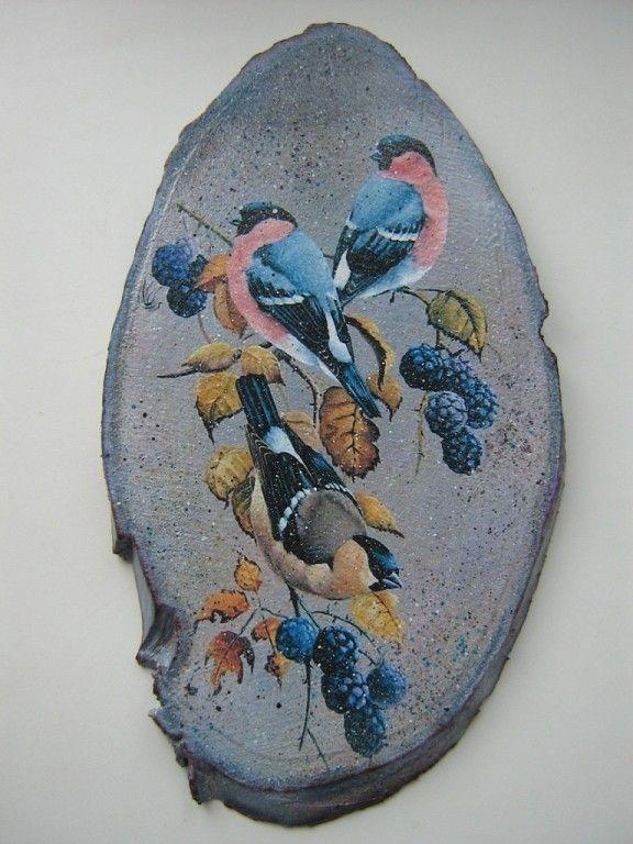 Большое панно на березовом срезе (березовый срез, распечатка, художественное тонирование и многоцветный набрызг акрилом, акриловый лак).