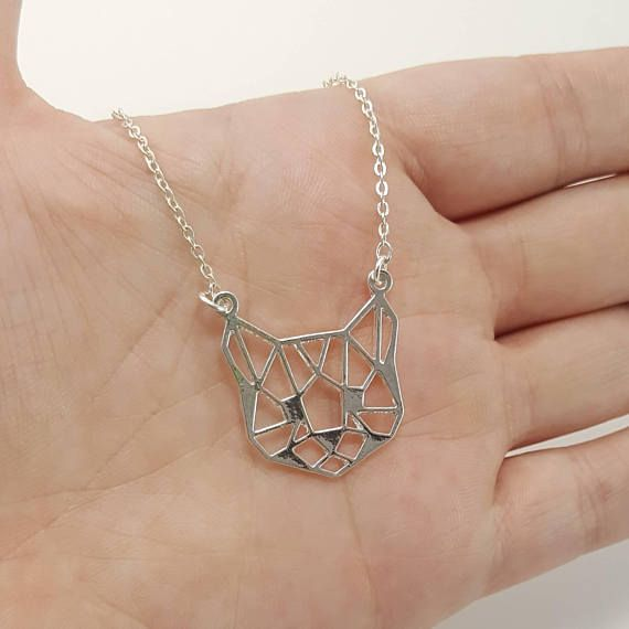 Cat Necklace Geometric Cat Face Origami Cat Cat Jewelry