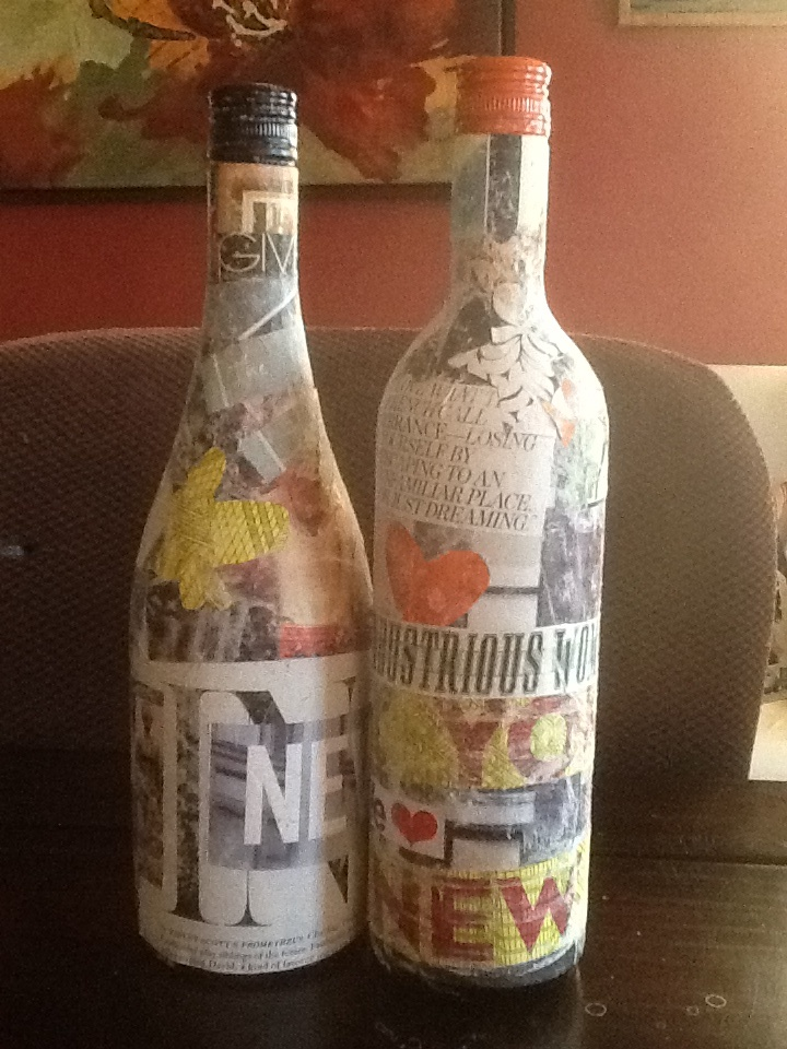 Wine bottle craft! So much fun, and messy going to do this for our bedroom with comics !!!!!!