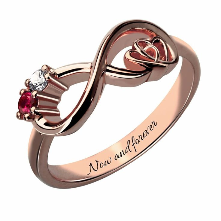 Two Stone Infinity Heart Rose Gold Ring