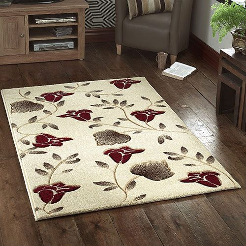 From This Lovely Beige Rug With Its Red And Brown Floral Pattern Would Look Great In A Modern Bedroom Or Equally At Home Living Dining Space
