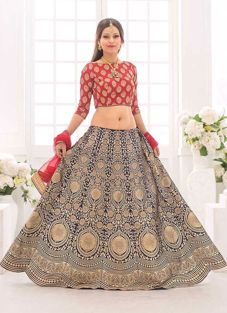 Shop Online Blue Silk Jacquard #CircularLehenga at Chennaistore.