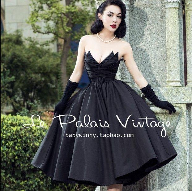 Große Schaukel schwarz elegant Retro unregelmäßig gewickelt Brust Vintage 50er Jahre 60er Jahre Rockabilly Kleid Baumwolle sexy Kleid Sommer Kleidung Baumwolle