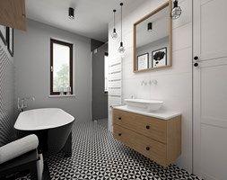 Mieszkanie - 85 m2 - Średnia łazienka w domu jednorodzinnym jako salon kąpielowy z oknem, styl skandynawski - zdjęcie od BIG IDEA studio projektowe