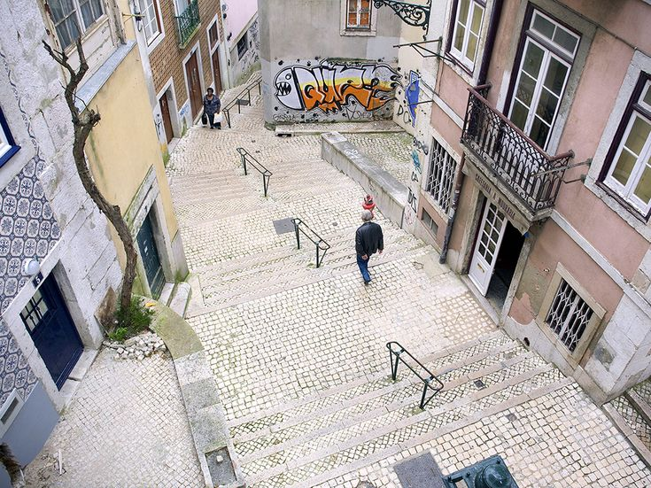 Picture of stairway in Alfama Quarter of Lisbon, Portugal