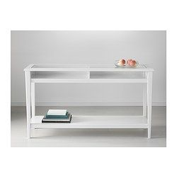 I like this in the upstairs hallway for some light in a darker space. Add a plant, vase, candles for some color. LIATORP Sofa table - white/glass - IKEA