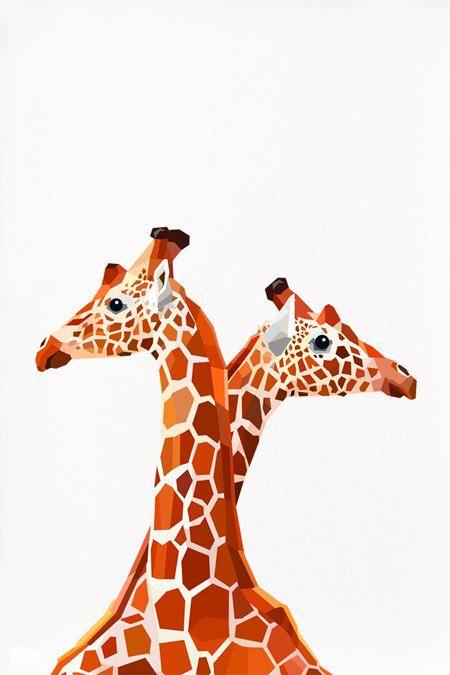 Geometric illustration Giraffes Animal print by tinykiwiprints