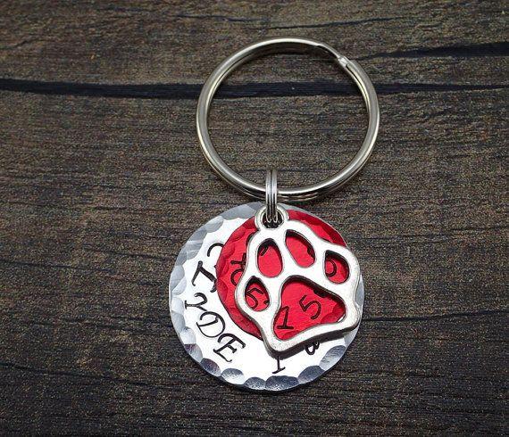 Red Dog Tag - Red Pet Tag - Paw Pet Tag - Pet Tag with Paw - Dog ID Tags - Dog Tags - Distressed Pet Tag - Large Pet Tags - Vibrant Pet Tags