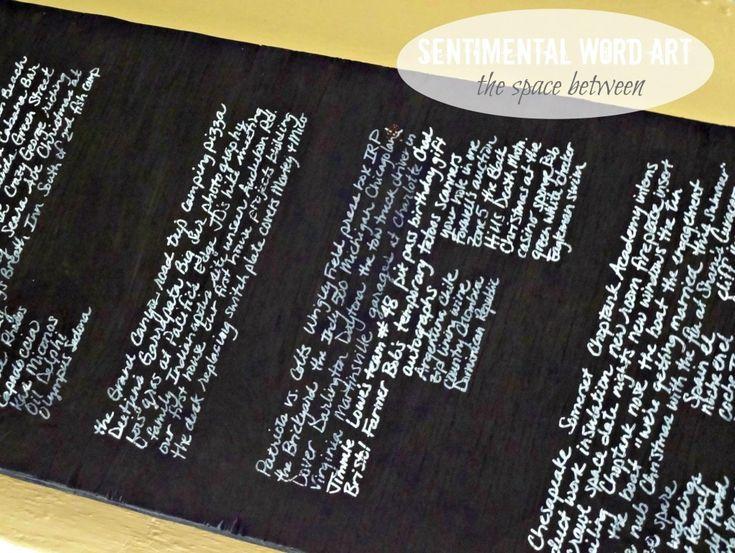 Sentimental Word Art via The Space Between: Gifts Ideas, Art Watermark, Awesome Ideas, Words Art, Life Art, Neat Ideas, Great Gifts, Great Ideas, Diy Projects