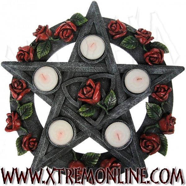 Decoracion Gotica Tienda ~ Porta velas Rosa y Pentagrama XT3720 Art?culos de decoraci?n
