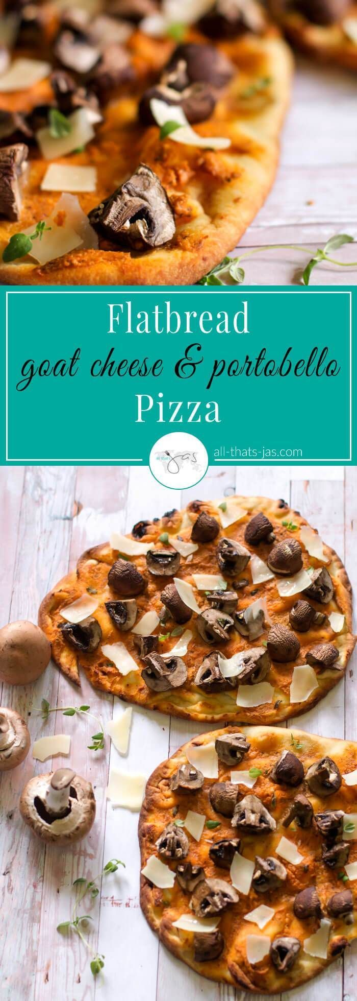 This recipe for crazy delicious 10 minute pizza uses naan flatbread as a pizza crust, a mixture of creamy goat cheese, smoked paprika, garlic, and black pepper for the pizza sauce, and baby portobello mushrooms with shaved parmesan cheese for the topping. Perfect for light lunch, snack or an appetizer.