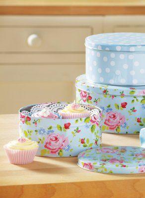 Cooksmart Cake Tins, Set of 3, Vintage Floral:Amazon.co.uk:Kitchen & Home