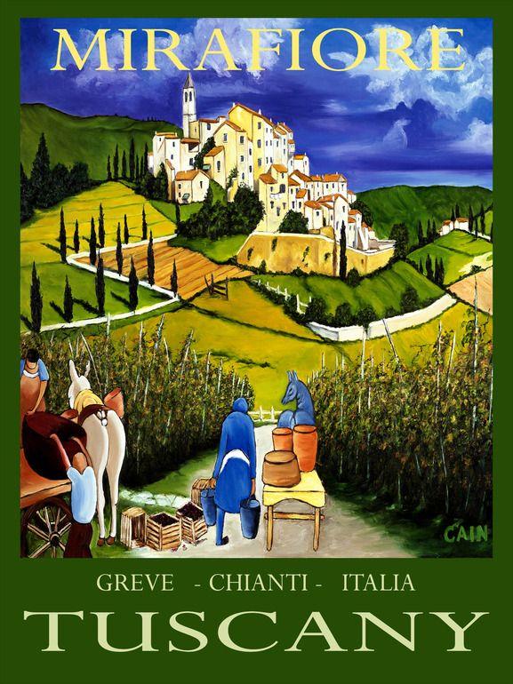 Vintage Italian Posters ~ #illustrator #Italian #posters ~ TUSCANY WINE POSTER, William Cain