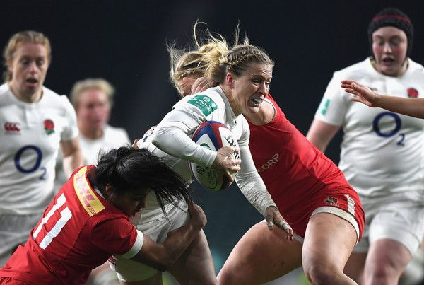 Danielle Waterman of England breaks through during the Old Mutual Wealth Series Women's match between England and Canada at Twickenham Stadium on November 26, 2016 in London, England.