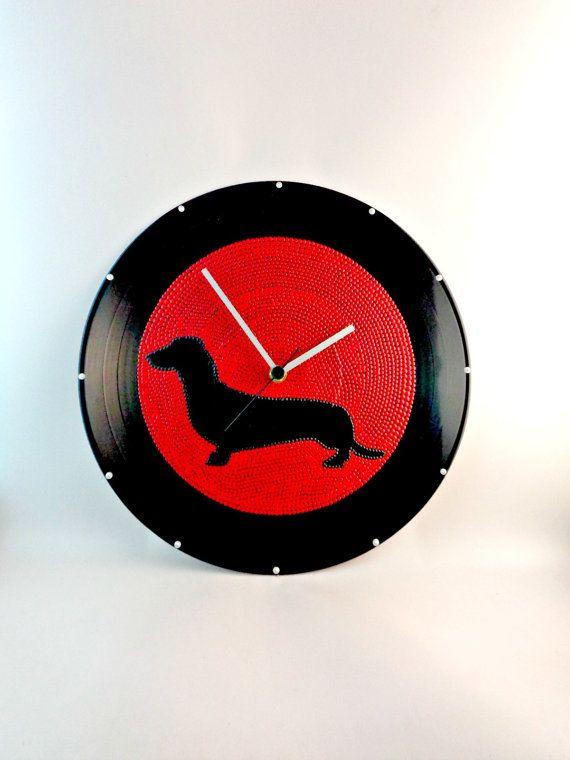 Dachshund Dog Silhouette Vinyl Clock Upcycled Red by InsaneDotting