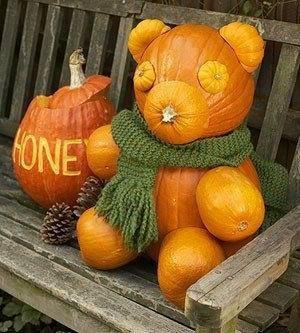 Cool idea! I don't know how they get it to stay, no directions.Decor Ideas, Fall Decor, Pooh Bears, Teddy Bears, Halloween Pumpkin, Pumpkin Carvings, Winniethepooh, Honey Bears, Winnie The Pooh