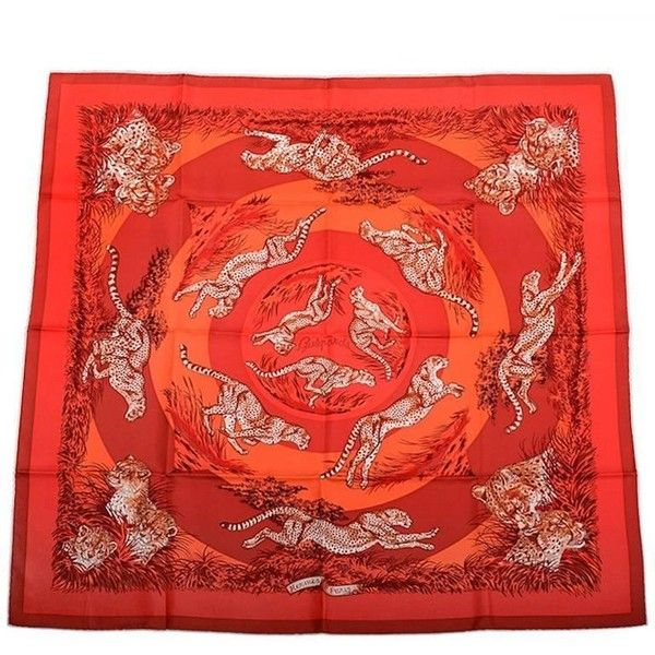 """Preowned Hermes """"guepards"""" Silk Twill Scarf 90cm (33.660 RUB) ❤ liked on Polyvore featuring accessories, scarves, multiple, silk twill scarves, hermes shawl, hermès, hermes scarves and ivory shawl"""