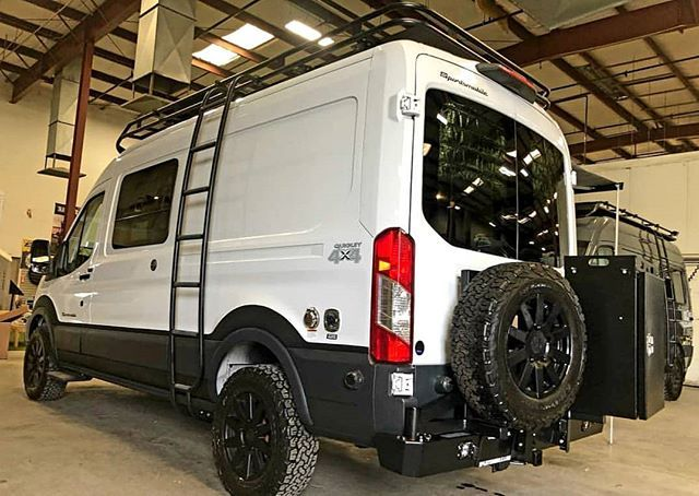 Sportsmobile 4x4 Ford Transit With Aluminess Rear Bumper System For Tire And Storage Swing Arm Roof R Ford Transit Ford Transit Conversion Ford Transit Camper
