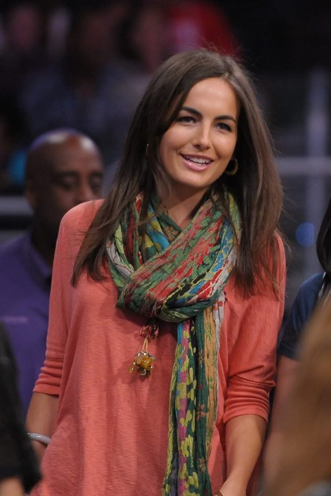 Coral + scarf  {Camilla Belle in Ralph Lauren Collection}