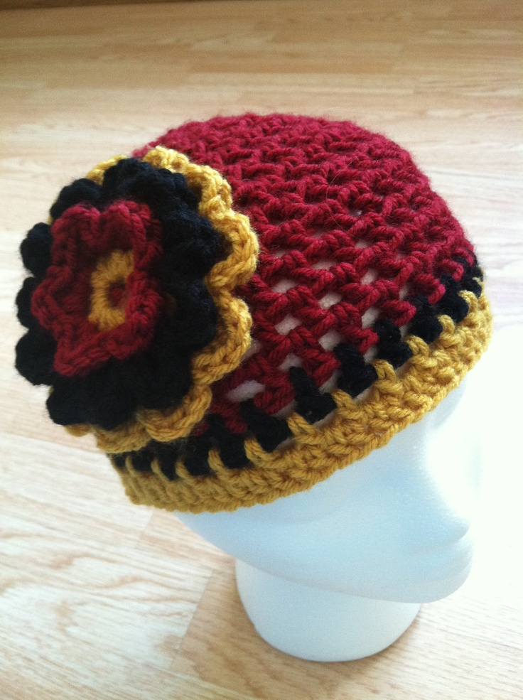 San Francisco 49ers inspired crochet flower hat - NFL - Burgundy Gold Black. $18.00, via Etsy.