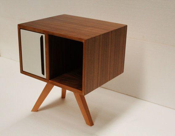 Mid Century Modern Bedside Table From Walnut Wood