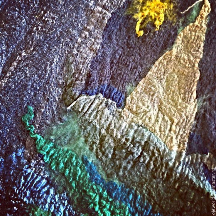 """Шарф - картина """"Жизнь- путешествие"""" - шарф, картина, интерьер, путешествие, валяный, нунофелтинг, olgajw"""